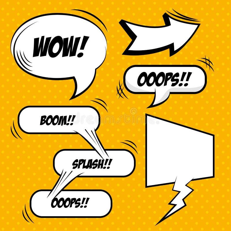 Diseño cómico de las burbujas del arte pop stock de ilustración