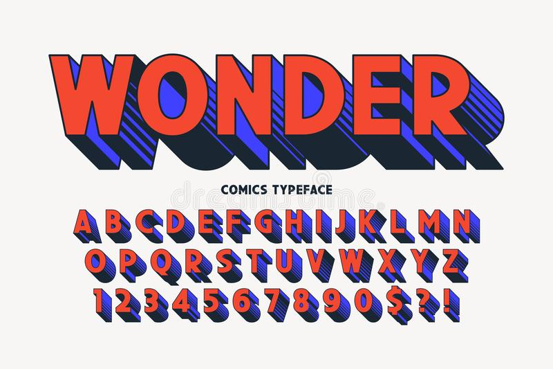 Diseño cómico de moda de la fuente 3d, alfabeto colorido, tipografía ilustración del vector