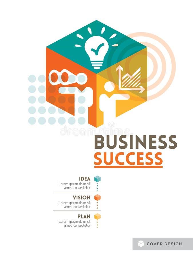 Diseño cúbico del fondo del concepto del éxito empresarial stock de ilustración