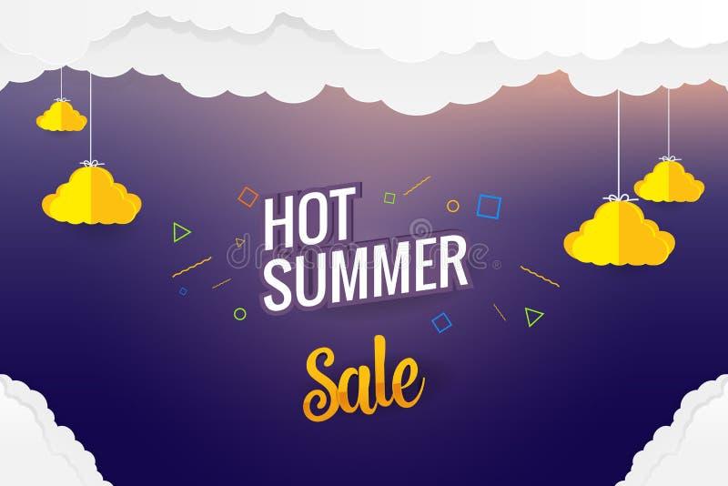 Diseño caliente de la plantilla del vector de la venta del verano del arte de papel ilustración del vector