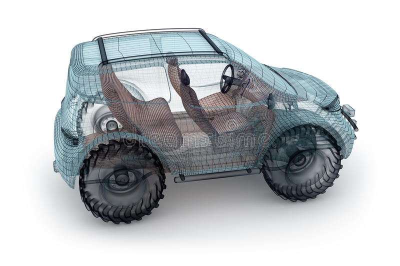 Diseño campo a través del coche, modelo del alambre stock de ilustración