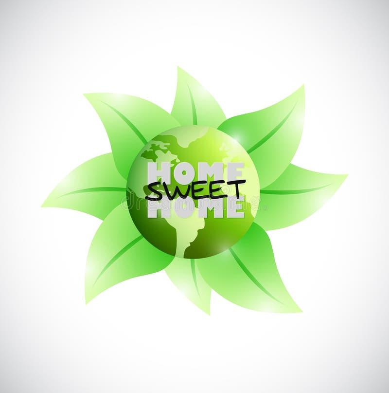 Diseño casero dulce del ejemplo del hogar de la tierra verde ilustración del vector