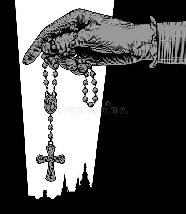 Diseño católico del teamplate de la publicación con la tenencia de la mano del ` s de la mujer stock de ilustración