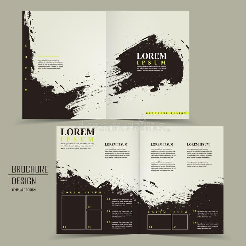 Diseño chino abstracto de la caligrafía para el folleto del mitad-doblez stock de ilustración
