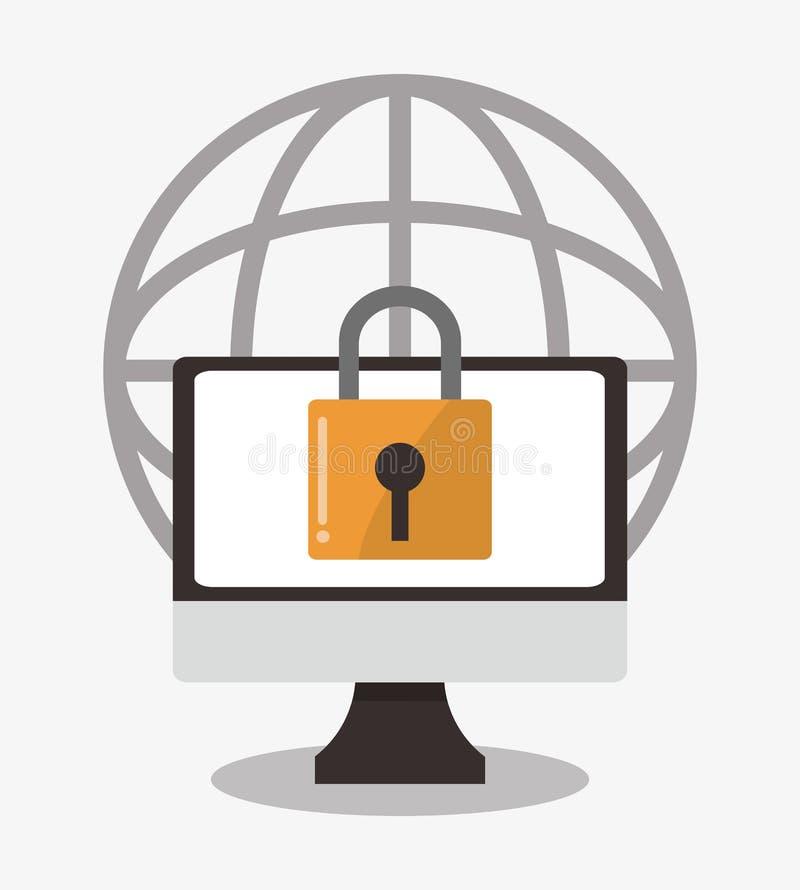 Diseño cibernético del ordenador del sistema de seguridad ilustración del vector
