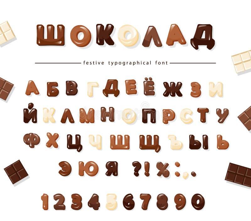 Diseño cirílico de la fuente del chocolate Letras y números brillantes dulces Vector libre illustration