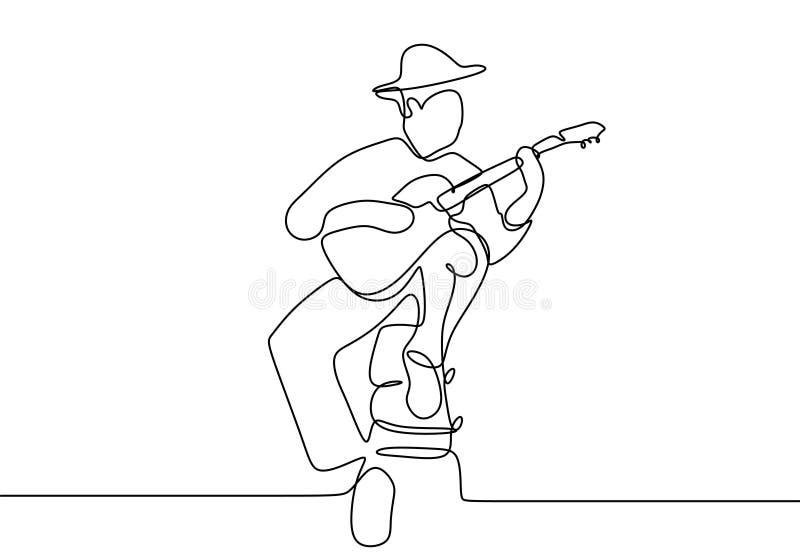 Diseño clásico continuo del minimalismo del jugador de música de la guitarra del dibujo lineal ilustración del vector