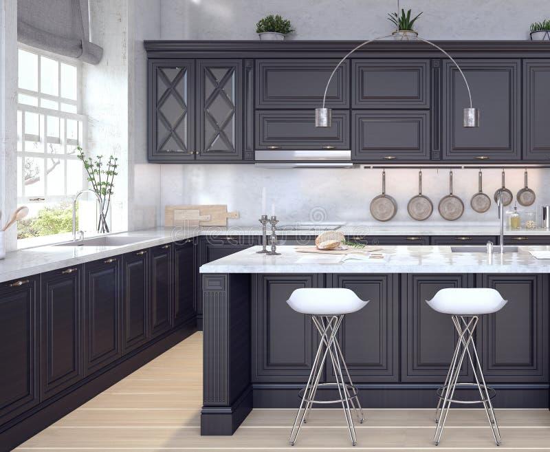 Diseño clásico de cocina stock de ilustración