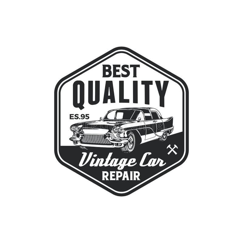 Diseño clásico de la insignia del logotipo del garaje de la reparación del coche del vintage Vieja plantilla retra del vector de  stock de ilustración