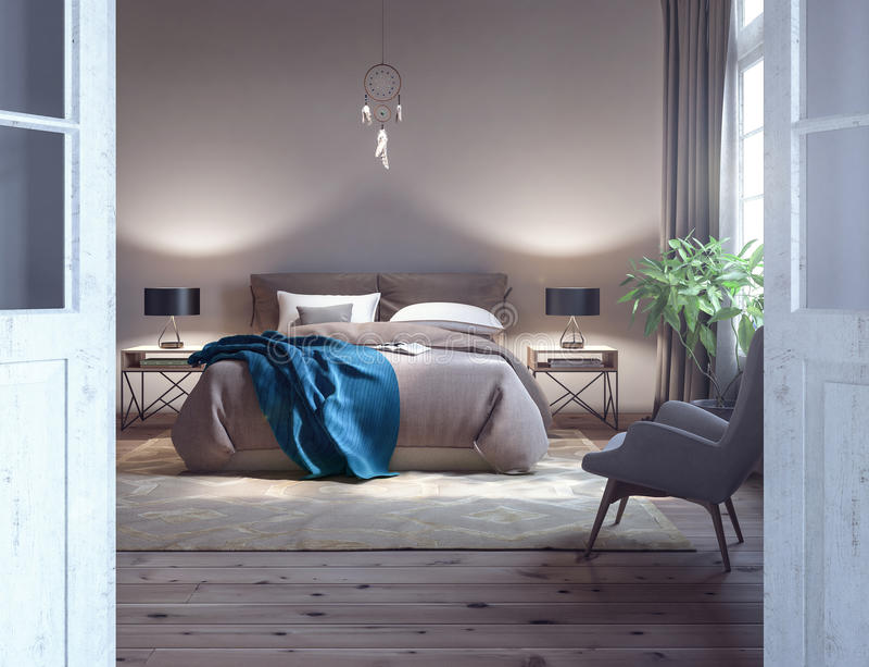 Diseño clásico del dormitorio stock de ilustración