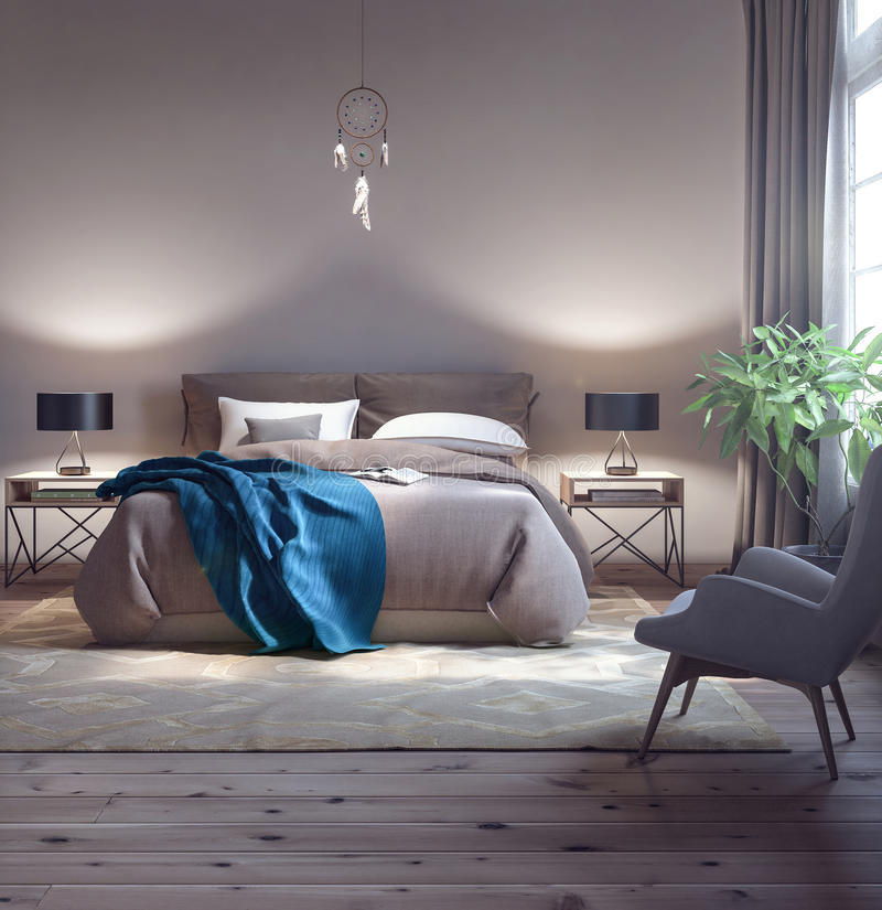 Diseño clásico del dormitorio ilustración del vector