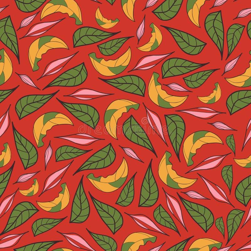 Diseño clásico dibujado mano de las hojas hermosas del vintage con vector inconsútil del modelo del fondo retro del estilo stock de ilustración