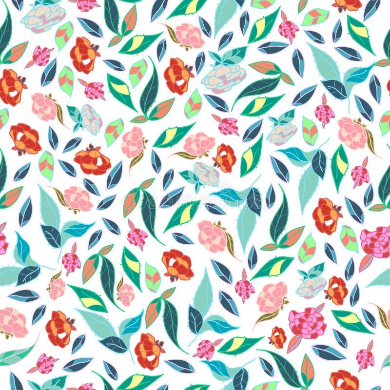 Diseño clásico dibujado mano retra de las flores hermosas del estilo con vector inconsútil del modelo del fondo brillante ilustración del vector