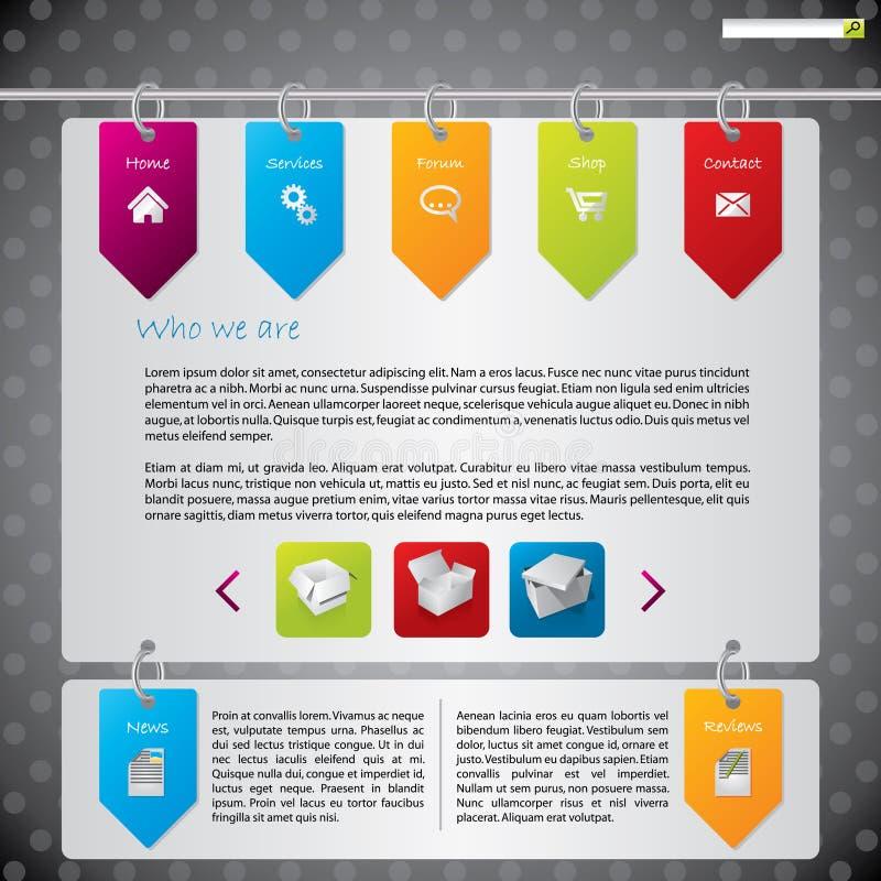 Diseño colgante del Web site de las escrituras de la etiqueta stock de ilustración