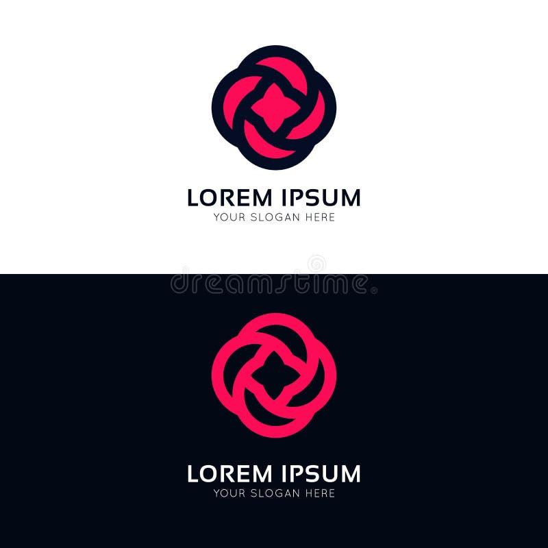 Diseño color de rosa del vector del logotipo de la compañía de la muestra del icono de la flor de Minimalistic stock de ilustración