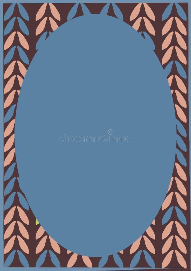 Diseño Colorido Abstracto Del Marco De Las Hojas Con óvalo Azul En ...