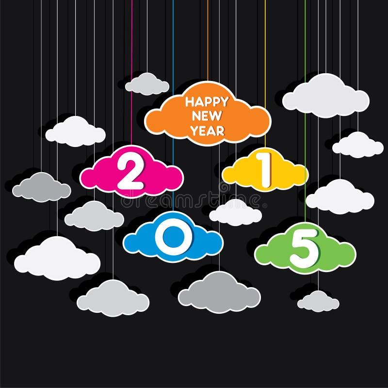 Diseño colorido creativo 2015 del saludo del Año Nuevo con tema de la nube ilustración del vector