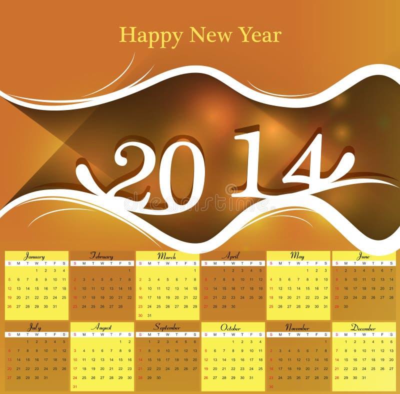 Diseño colorido de 2014 calendarios ilustración del vector