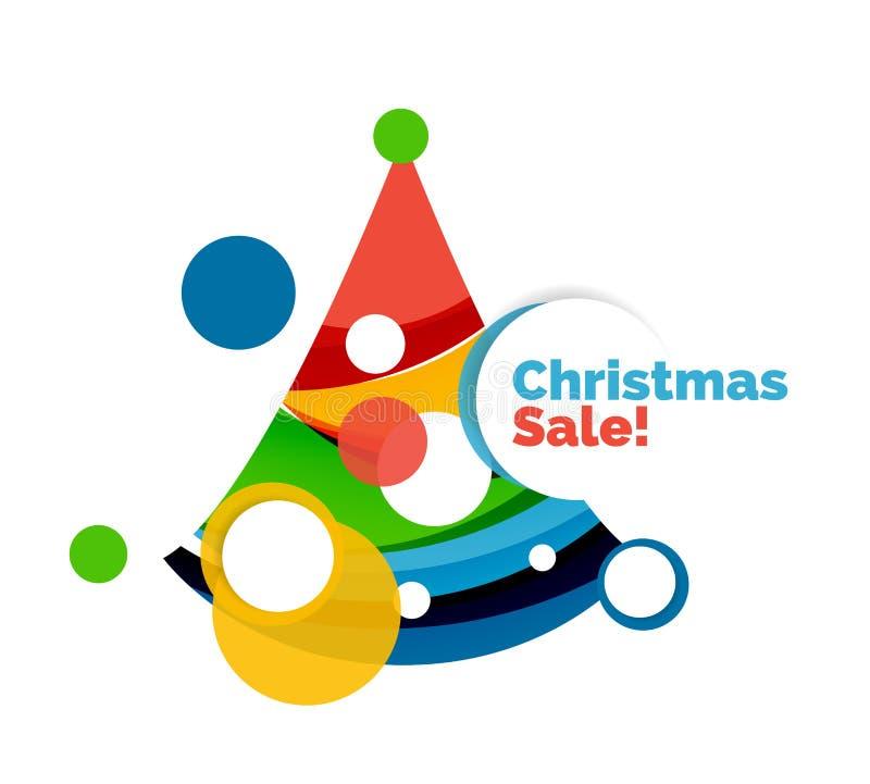 Diseño colorido de la bandera del extracto de la venta de la Navidad con las burbujas ilustración del vector