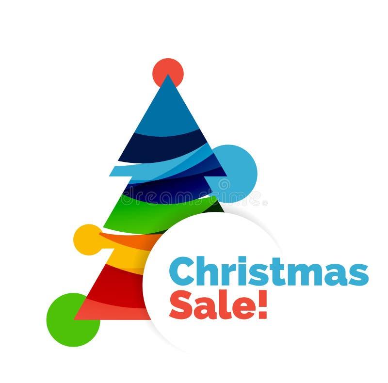 Diseño colorido de la bandera del extracto de la venta de la Navidad con las burbujas stock de ilustración