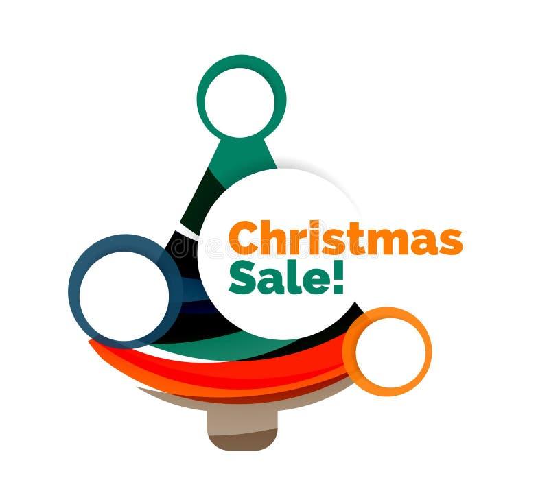 Diseño colorido de la bandera del extracto de la venta de la Navidad con las burbujas libre illustration