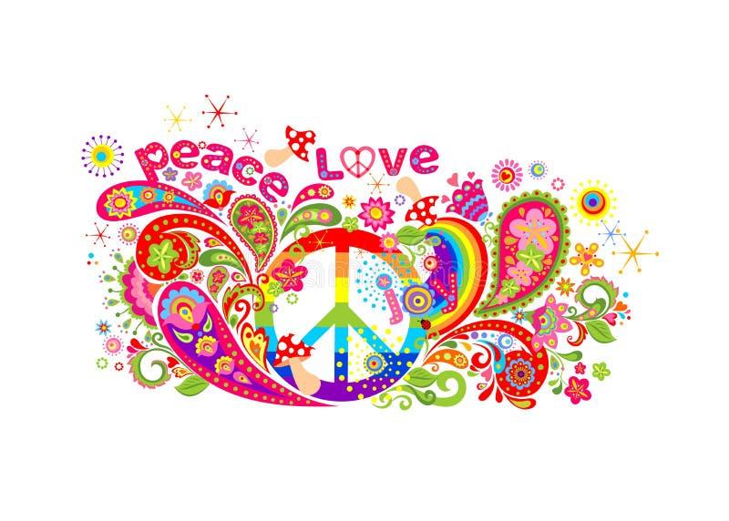 Diseño colorido de la camiseta con símbolo de paz del hippie, las flores abstractas, las setas, Paisley y el arco iris en el fond ilustración del vector