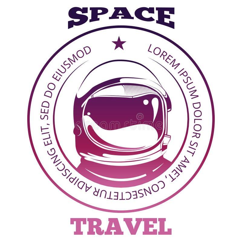 Diseño colorido de la etiqueta del viaje espacial con el astronauta en el spacesuit aislado en blanco ilustración del vector