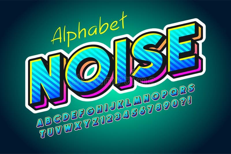 Diseño colorido de la fuente de la exhibición 3d, alfabeto, letras stock de ilustración