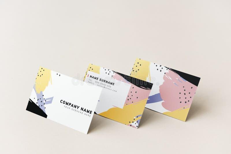 Diseño colorido de la maqueta de las tarjetas de visita imagenes de archivo