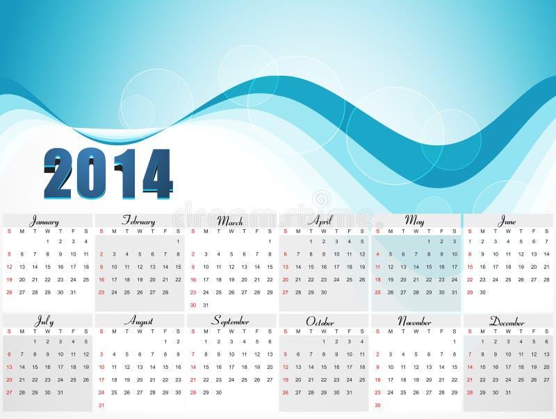 Diseño colorido de la onda azul del calendario del vector 2014 ilustración del vector