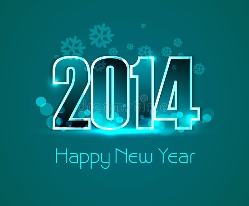 Diseño colorido de la tarjeta de felicitación del Año Nuevo 2014 del vector ilustración del vector