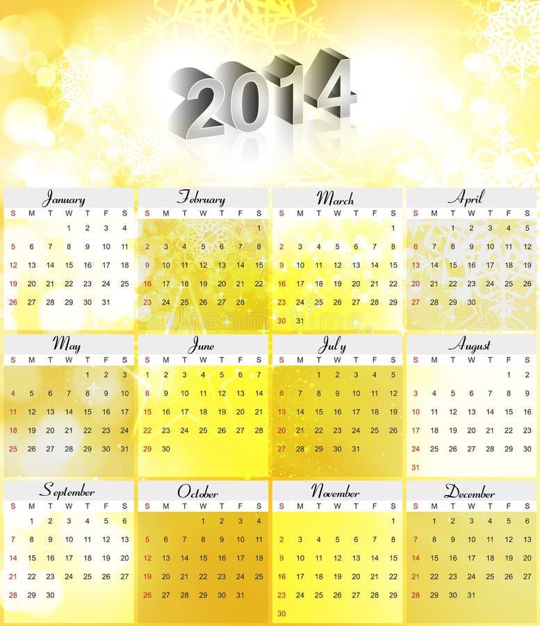 Diseño colorido del calendario del Año Nuevo del vector 2014 ilustración del vector