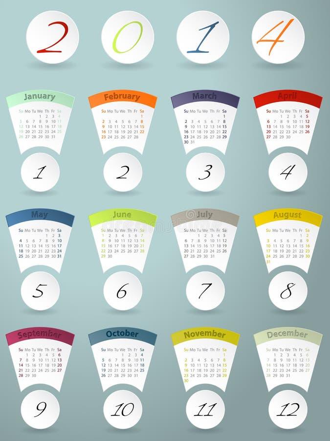 Diseño colorido del calendario para 2014 libre illustration