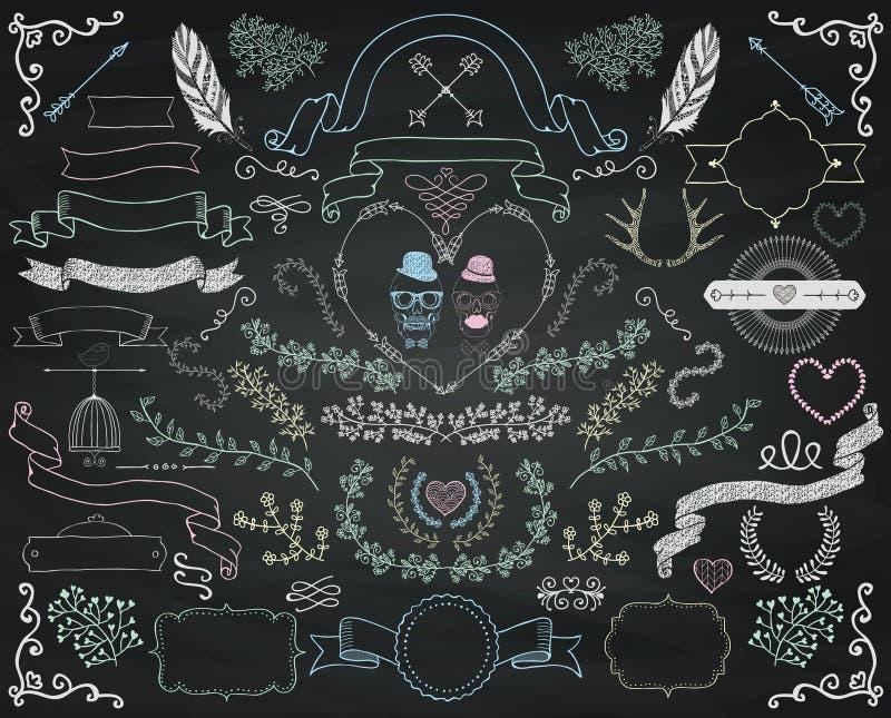 Diseño colorido del garabato del dibujo de tiza del vector stock de ilustración