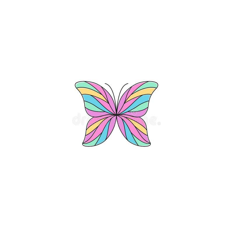 Diseño colorido del logotipo del esquema de la mariposa ilustración del vector