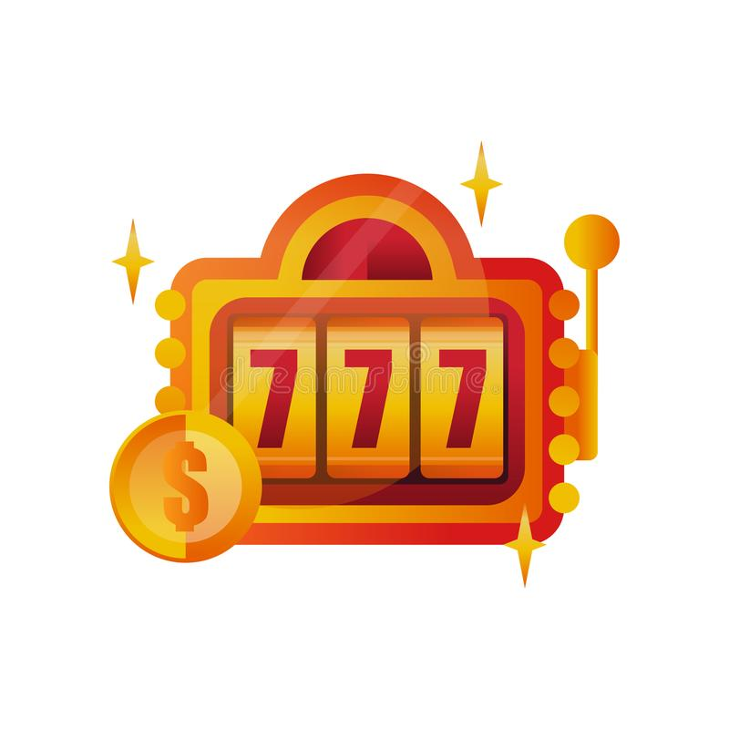 Diseño colorido del logotipo para el casino Máquina tragaperras con el símbolo afortunado 777 Muestra del ganador Tema de juego I ilustración del vector