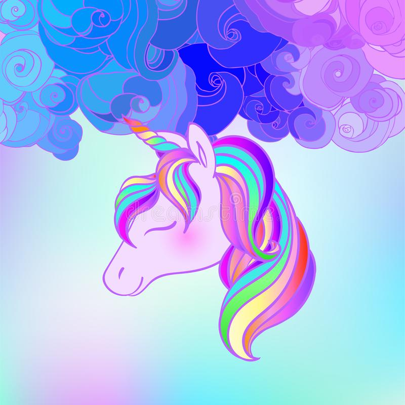 Diseño colorido del unicornio Ilustración del vector Etiquetas engomadas, pernos, remiendos Colores en colores pastel de Hallowee imágenes de archivo libres de regalías
