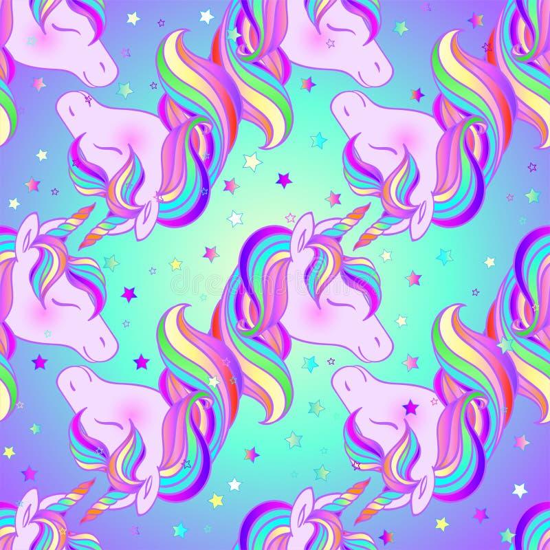 Diseño colorido del unicornio Modelo inconsútil Ilustración del vector Etiquetas engomadas, pernos, remiendos Colores en colores  libre illustration