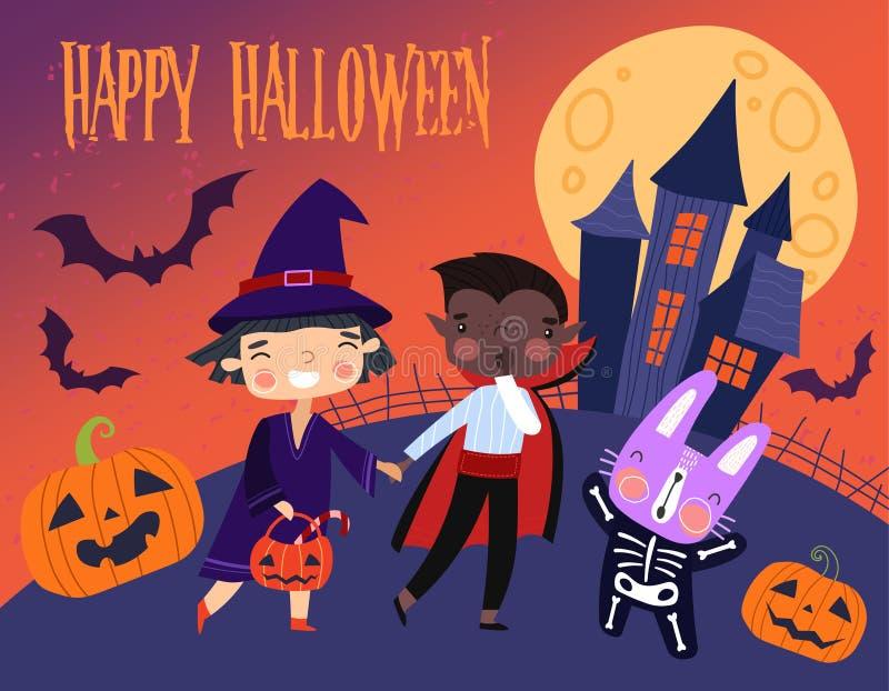 Diseño colorido del vector de la tarjeta o del cartel del feliz Halloween con dos niños jovenes en disfrazado, truco-o-tratando e ilustración del vector