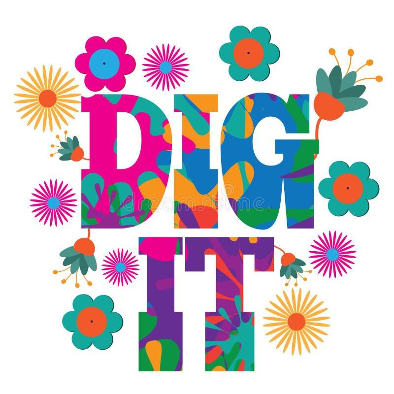 Diseño colorido psicodélico del texto de Dig It del arte pop de la MOD del estilo de los años 60 libre illustration