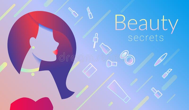 Diseño comercial de la bandera del promo de los secretos de la belleza con la cara y elementos y símbolos femeninos del maquillaj libre illustration