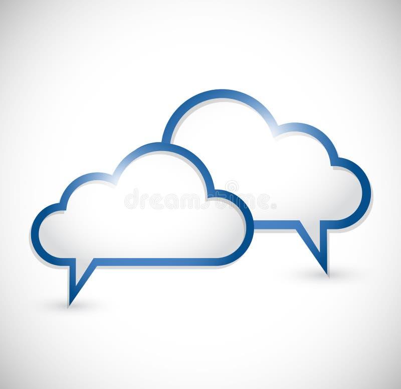 Diseño computacional del ejemplo de la comunicación de la nube ilustración del vector
