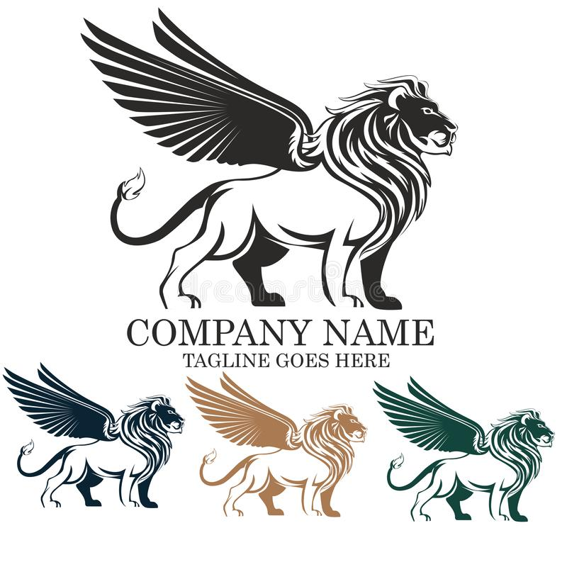 Diseño con alas mítico del emblema del ejemplo del logotipo del vector del león stock de ilustración