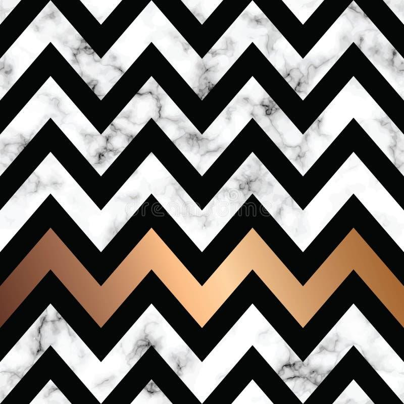 Diseño con formas geométricas de oro, superficie que vetea blanco y negro, fondo lujoso moderno de la textura del mármol del vect libre illustration