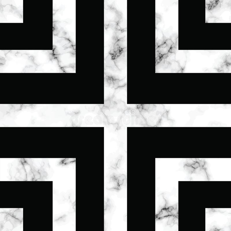 Diseño con formas geométricas, superficie que vetea blanco y negro, fondo lujoso moderno de la textura del mármol del vector stock de ilustración