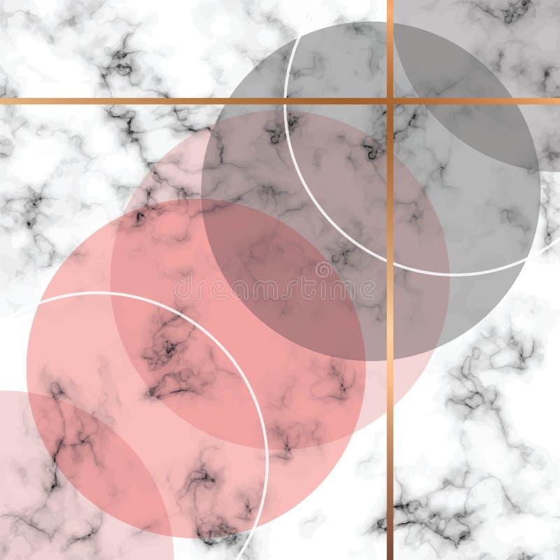 Diseño con las líneas geométricas de oro, superficie que vetea blanco y negro, fondo lujoso moderno de la textura del mármol del  ilustración del vector