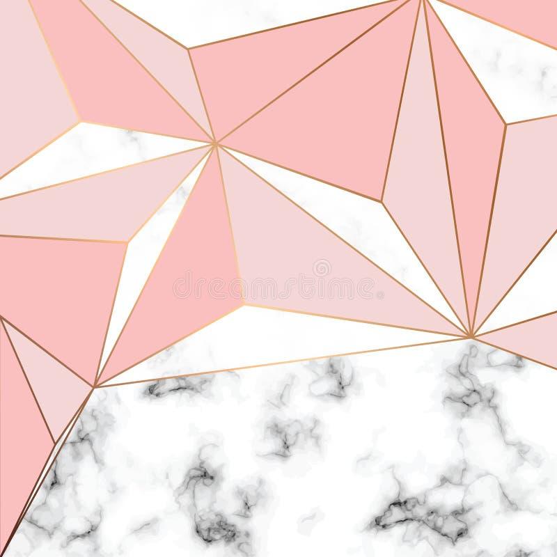 Diseño con las líneas geométricas de oro, superficie que vetea blanco y negro, fondo lujoso moderno de la textura del mármol del  stock de ilustración
