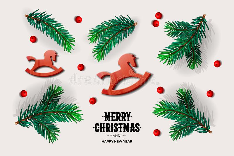 Diseño con las ramas del abeto, caballo oscilante del juguete, bayas rojas, ejemplo de la Feliz Navidad y de la Feliz Año Nuevo d ilustración del vector