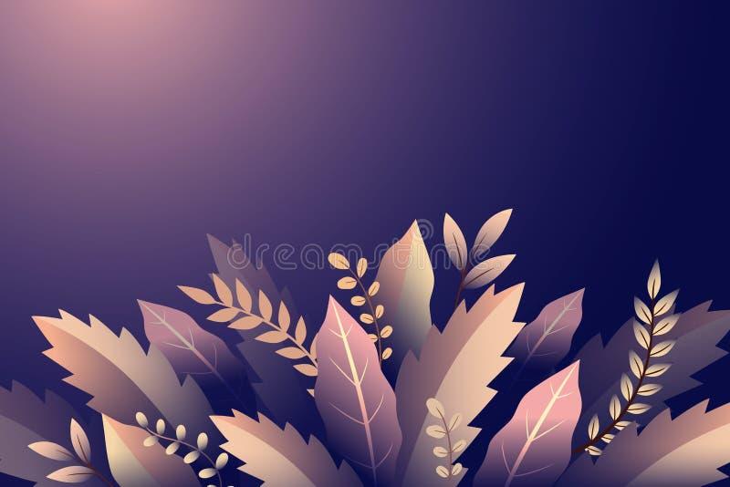 Diseño con las ramas y las hojas, ornamento floral en el fondo violeta ilustración del vector