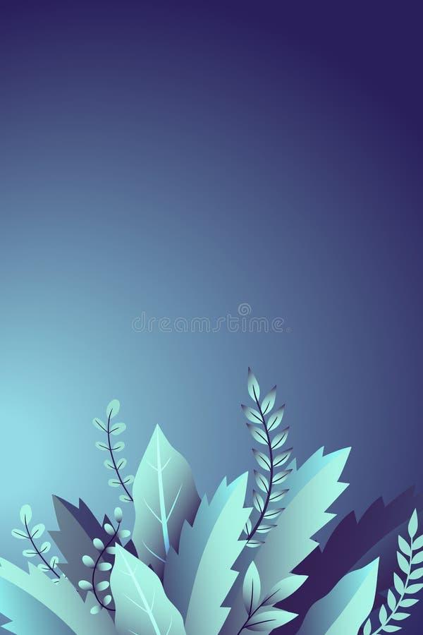 Diseño con las ramas y las hojas, ornamento floral en fondo azul libre illustration